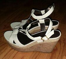 22e5a48c3a Vince Camuto Ivory Leather Cork Platform Wedge Sandals Sz 8 Ramonda Ankle  Strap