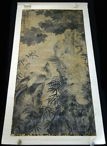 17/18C Chinese Giant Ink Painting on Paper Scroll Phoenix Birds & Wutong (KoJ)