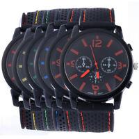 Men's Sport Watch Three Eye Silicone Band Strap Quartz Wristwatch Fashion Gift