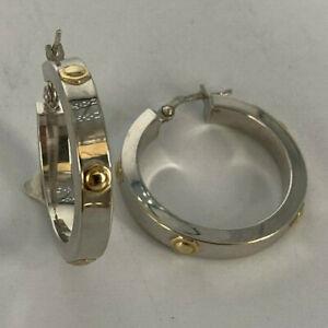 9ct White Gold & Yellow Screw Hoop Earrings.  Goldmine Jewellers.