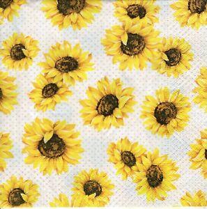 4x Designer PAPER NAPKINS for Decoupage SUNFLOWER GARDEN Flowers Floral