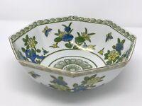 Andrea by Sadek Octagonal Center Piece Bowl Blue Green Flowers Gold Rim Japan