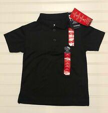 Nwt Boys Chaps Solid Black Polo Size 4 Regular Wicking Upf School Uniform
