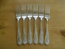 "Set of 6 Walker & Hall La Regence Silver Plated Dessert Forks - <7 1/2""(19cms)"
