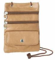 Tan Genuine Leather ID Passport Holder Neck Strap Zip Pouch Travel Wallet