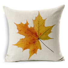 Vintage Linen Hemp Cotton Couch Sofa Cushion Cover Pillow Maple Leaf 45X 45 cm