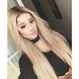 Custom Natural blonde Lace Front light roots celebrity ash full hair ombre wig