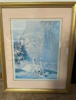 """Vintage Vernon Ward Swan Print """" Family In The Park """" Art Framed Signed Matted"""