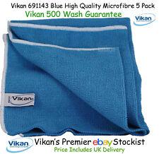 Vikan Microfibre Cloths High Quality Blue Microfiber Towels Cleaning Cloth x 5