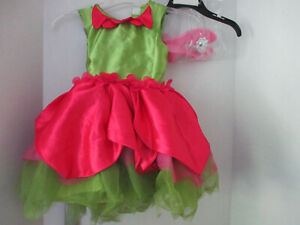 Pink Green TULLE FAIRY Tulip Flower DRESS & SHOES Halloween Costume~Girls Small