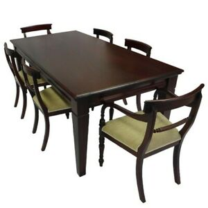 Solid Mahogany Wood Rectangular Dining Set Table 2m & 6 Chairs Antique Style
