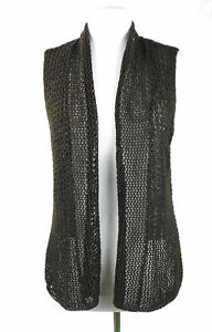 Chicos Open Weave Brown Tunic Vest Sweater Women's Size 0 Small