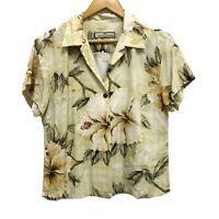 Tommy Bahama Black Strong Silk Hawaiian Shirt Women's Button Front Yellow Beige