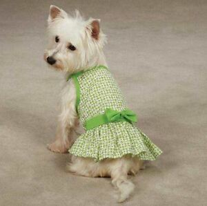 Miss Daisy Dog Dress  pet dresses w/ bow pink green cotton  spring