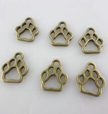 40/120/600pcs Tibetan Silver/Bronze Hollow Dog Cat Paw Print Charms Pendants