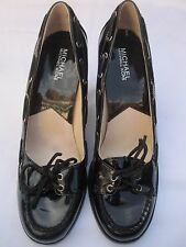 MICHAEL Kors Patent Leather Loafer Pumps Black Block Heel Lace Up Shoes Sz 10