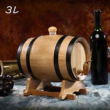 3L Oak Wine Brewing Keg tank Wine Beer Wooden Barrel Dispenser with Stand
