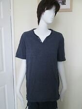 MARKS & SPENCER - BLUE STRIPED 2 BUTTON NECK 100% COTTON  T-Shirt Size Large