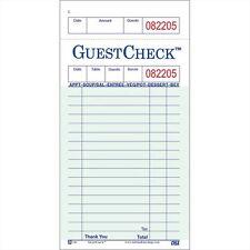 "One-Part Copy Paper 17-Line GuestChecks Green 6.75"" L x 3.5"" W | 50 Book/Case"