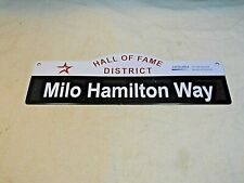 "Décor Souvenir Tin Street Sign Wall Plaque ~ ""Milo Hamilton Way"" ~w/Astros Log"