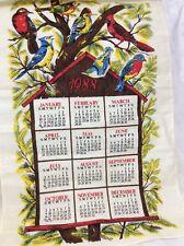 VINTAGE 1988 CALENDAR TEA TOWEL BIRD BIRDS TREE HOUSE