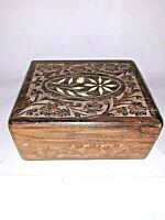 Vintage Small India Wooden Carved Box Trinket Box Hinged Lid