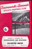 1962/63 BOURNEMOUTH V COLCHESTER UNITED 01-09-1962 Division 3