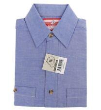 WORKSENSE Chambray Shirts, Size 2XS, Short Sleeve, Blue