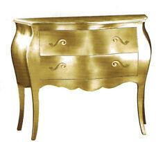 Comò 2 Cassetti bombato dorato classico colore foglia oro mobile camera da letto