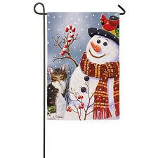 Snowman & Kitten Decorative Garden Flag