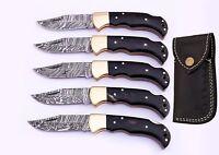 (LOT OF 5)DAMASCUS STEEL BLADE POCKET KNIFE,FOLDING LOCK BACK,HORN HANDLE