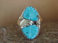 Zuni Indian Jewelry Sterling Silver Turquoise Leaf Ring by Tsatte, Size 12 1/2