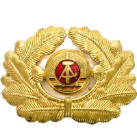 German DDR National Peoples Army Military NVA Officer Gold Hat Cockade Cap Badge