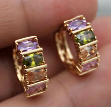 18K Yellow Gold Filled- Oval Amethyst Morganite Peridot Topaz Lady Hoop Earrings