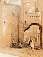 ÉCOLE ORIENTALISTE Encre et Gouache Fin XIXe - XXe, Rue Sidi Bou Manrow in Bone