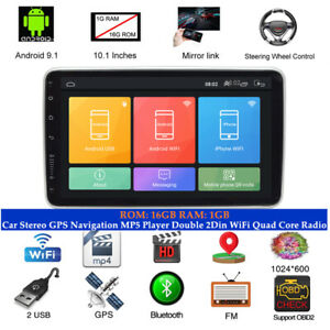 """10.1"""" Android9.1 Car GPS Navi MP5 Player Double 2Din WiFi Quad Core Radio DC 12V"""