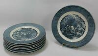 "Set of 8 VTG Royal China Currier & Ives Gristmill Blue & White Dinner Plates 10"""