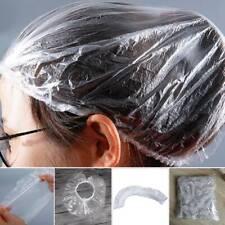 100pcs Disposable Shower Bathing Elastic Clear Hair Care Plastic Hat Cap _au
