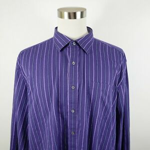 Bugatchi Mens Cotton Classic Fit LS Button Up Purple Checkered Striped Shirt 2XL