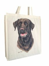 Labrador Chocolate Cotton Shopping Bag Gusset & Long Handles Perfect Gift