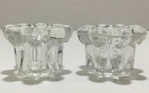 VINTAGE Set of KIG INDONESIA Crystal Clear Beaded Glass Candle Holders