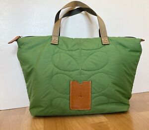 ORLA KIELY GREEN STEM PATTERN QUILTED NYLON TOTE / SHOPPER BAG