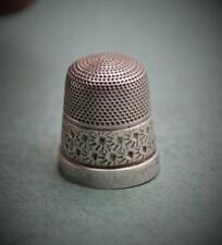 Victorian ? unmarked sterling silver Thimble 14 Beehive and Flowers as found N/R