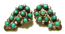 ANTIQUE OLD ZUNI STERLING SILVER CABOCHON TURQUOISE FLORAL FLOWER CLIP EARRINGS