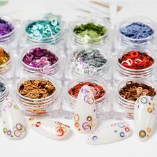Holographic 3D Round Circle Nail Sequins Flakes Glitter Foils Jar Nail Art Decor