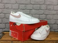 NIKE LADIES UK 4 EU 37.5 WHITE PARTICLE ROSE PINK BLAZER LOW LEATHER TRAINERS