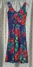BHS Ladies, Lined Sleeveless, Floral, Cotton Summer Dress ~ Size 10