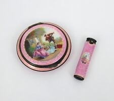 Antique German Multi Color Enamel Sterling Silver Powder Box & Lipstick Case