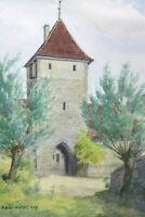 Gustav Müller Aquarell Sesslach, Turm an der Rodachbrücke Mai 1974