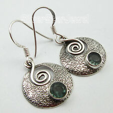 "925 Sterling Silver Facetted APATITE ANTIQUE LOOK ART Earrings 1.3"" HANDMADE"